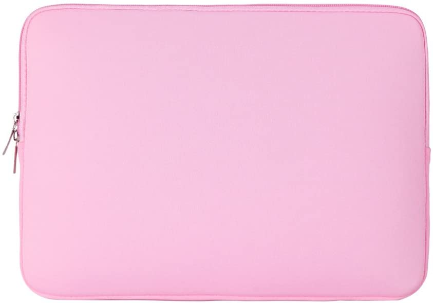 "RAINYEAR 15.6 Inch Laptop Sleeve Protective Case Soft Carrying Zipper Bag Cover Compatible with 15.6"" Notebook Computer Ultrabook Chromebook (Pink)"