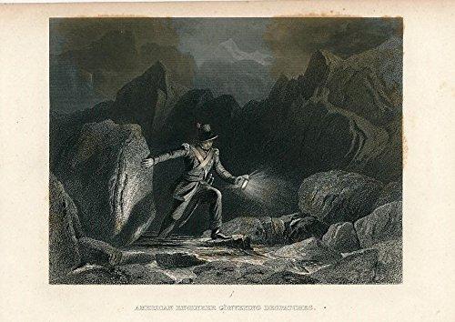 (US messenger on a hazardous night time lamp mission c. 1850's era antique print)