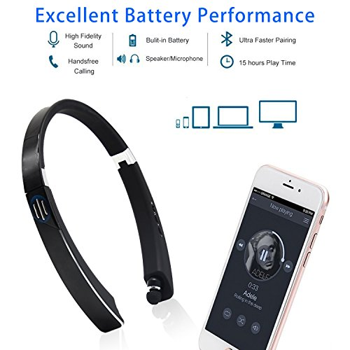 Yocuby Bluetooth Headphone Speaker, Foldable and Retractable Wireless Neckband Earbuds with Bult in Speaker and Microphone 2 in 1 Noise Canceling Sports Headsets for iPhone,Android lovely
