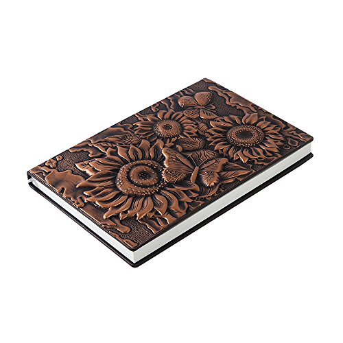 ZYWJUGE Embossed Leather Travel Journals Vintage Handcraft Embossed Sunflower Antique Diary Notebook (Red bronze, A5) ()