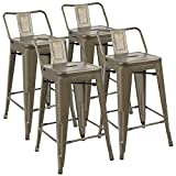 JUMMICO Metal Bar Stools 24″ Kitchen Dining Chair with Low Back Indoor-Outdoor Patio Bistro Cafe Side Chairs Gun Metal Modern Style (Set of 4) Review