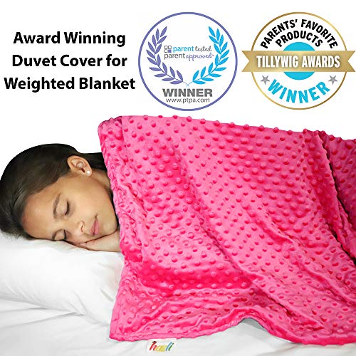 Cheap Weighted Blanket Duvet Cover 48 x 72 Cooling Bamboo and Soft Minky Dot Removable Duvet Cover for Hot and Cold Nights - Weighted Blanket Not Included Black Friday & Cyber Monday 2019