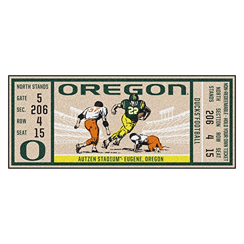 NCAA University of Oregon Ducks Ticket Non-Skid Mat Area Rug ()