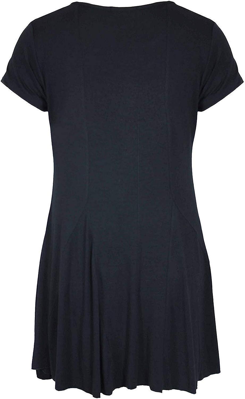 Womens Ladies New Front Diamante Heart Short Sleeve Scoop Neck Long T-Shirt Black Uneven Hem Top Plus Size Black