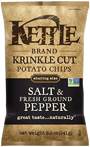 Kettle Brand Potato Chips, Krinkle Cut Salt & Fresh Ground Pepper, 8.5 Ounce Bags (Pack of (Krinkle Cut Potato Chips)