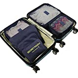 6 Set Travel Storage Bags Yeeth Durable Multi-functional Clothing Sorting Packages,Travel Packing Pouches,Luggage Organizer Pouch,High Capacity Luggage Clothes Tidy Organizer Pouch Suitcase Navy Blue