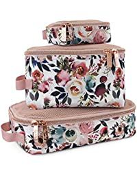 Packing Cubes – Set of 3 Packing Cubes or Travel Organizers; Each Cube Features a Mesh Top, Double Zippers and a Fabric Handle; Blush
