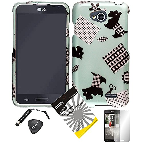 4 items Combo: ITUFFY (TM) LCD Screen Protector Film + Mini Stylus Pen + Case Opener + Blue Black Checker Plaid Polka Cloth Schizer Dog Design Rubberized Snap on Hard Shell Cover Faceplate Skin Phone Case for Android Smart Phone LG Optimus L90 / LG D415 (T-Mobile) (Plaid Dog)