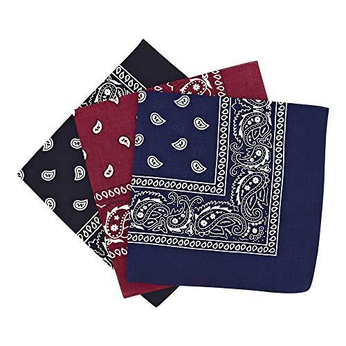 By Neki Paisley Bandanas Headband Scarf Pack Of 3 Mixed Colours Cotton Paisley Print, Fashion Hair Accessory, Sports…