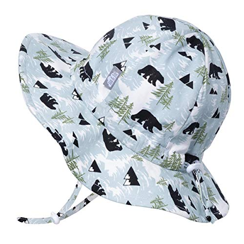 Kids Foldable Summer Sun-Hat 50 UPF, Drawstring Adjustable, Stay-on Chin Strap (L: 2-5Y, Bear) ()