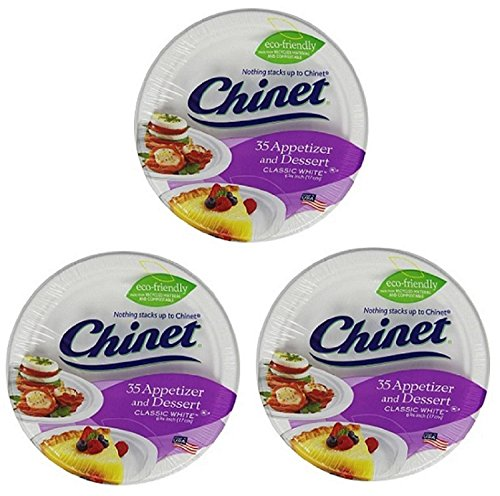 Chinet Appetizer and Dessert Plates, 35-Count Packages (Pack of 3) ()