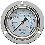 PIC Gauge PRO-204L-254R Glycerin Filled Industrial Front Flanged Panel Mount Pressure Gauge with Stainless Steel Case, Brass Internals, Plastic Lens, 2-1/2'' Dial Size, 1/4'' Male NPT, 0/5000 psi