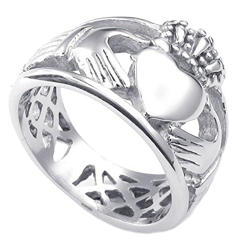KONOV Mens Womens Stainless Steel Ring, Claddagh Heart Crown Wedding Band, Size (Crown Claddagh Ring)