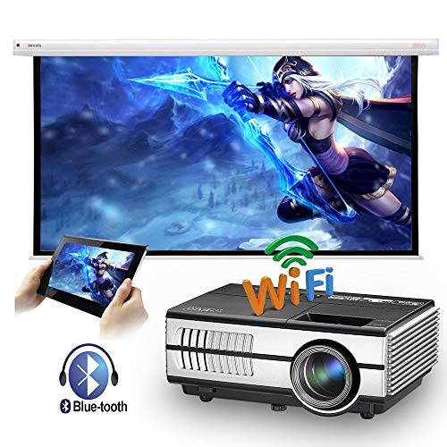 LED Mini Wireless Bluetooth HDMI Projector Portable Home Theater Smart Android Wifi Proyector Multimedia Outdoor Movie Party Entertainment Projectors with Built-in Speakers HDMI USB VGA AV Audio Out