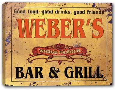 WEBER'S World Famous Bar & Grill Stretched Canvas Sign