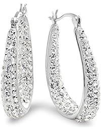 Sterling Silver Hoop Earrings made with Swarovski Crystals
