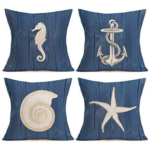 Asamour Vintage Wood Ocean Park Throw Pillow Case Anchor Marine Life Sea Horse Starfish Conch Decorative Cushion Cover Mediterranean Style Pillow Sham 18 inches Set of 4,Cotton Linen,Navy Blue,Wooden (Navy Throw Nautical Pillows)