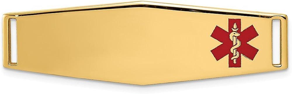 Hermoso oro amarillo 14 K 14 K epoxi esmaltado ID médico Off Ctr suave forma de diamante placa #820 viene con un regalo de joyería gratis