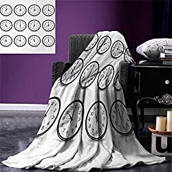 Clock Custom Design Cozy Flannel Blanket Clocks with Numbers That Show Every Hour Illustration Hour and Minute Hand Theme Lightweight Blanket Extra Big 90x90 Black White
