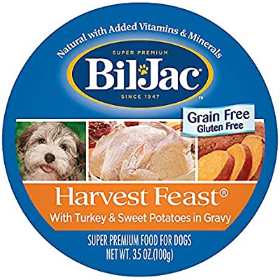 Bil-Jac Grain Free, Gluten Free Harvest Feast with Turkey & Sweet Potatoes in Gravy (8-Individual Cups)