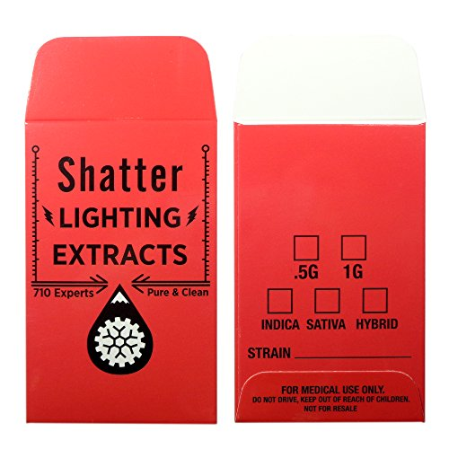 500 Red Shatter Lightning Extracts Concentrate Coin Strain Label Envelopes #125 by Shatter Labels