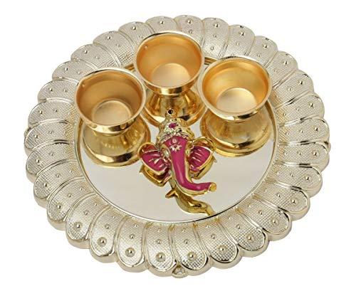 Colored Crystals Handmade in Golden Acrylic Elegant Bells SAHAYA Ganesh Haldi Kumkum Box Decorated with Flowers