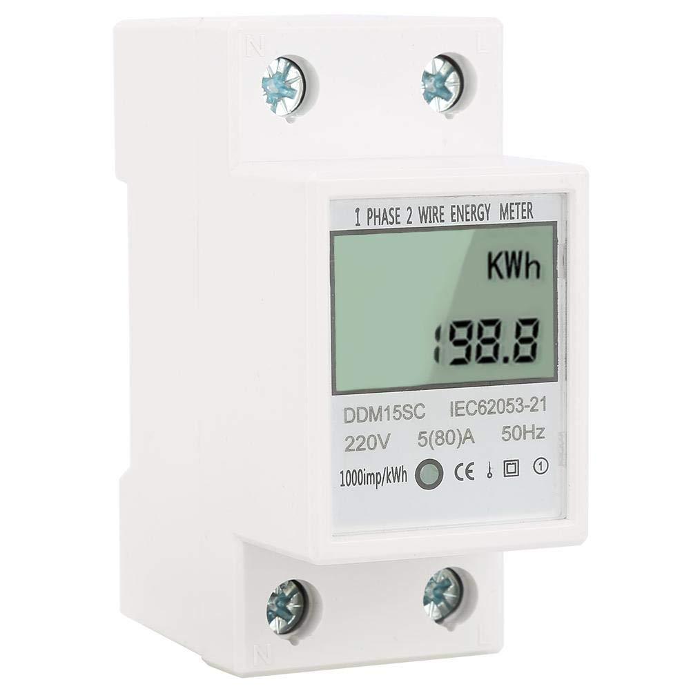 Digitaler DIN-Schienen-Stromz/ähler AC230V 5-80A DDM15SC LCD-Display Einphasen-KWh-Z/ähler f/ür elektronische Energie