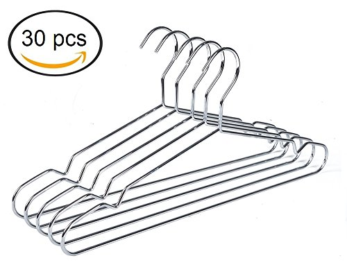 Quality Hangers Heavy Duty Metal Suit Hanger Coat Hangers with Polished Chrome (30)