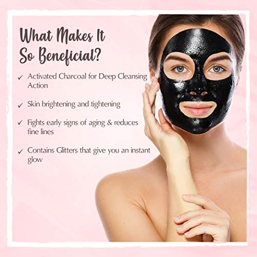 51Tg76nEBRL The Beauty Co. Activated Charcoal Glitter Glow Mask, 20 g