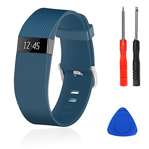 Wizvv Compatible Bands Replacement for Fitbit Charge HR,Charge HR 1, with Metal Buckle Fitness Wristband Strap Women Men Large Small (Navy,Large)