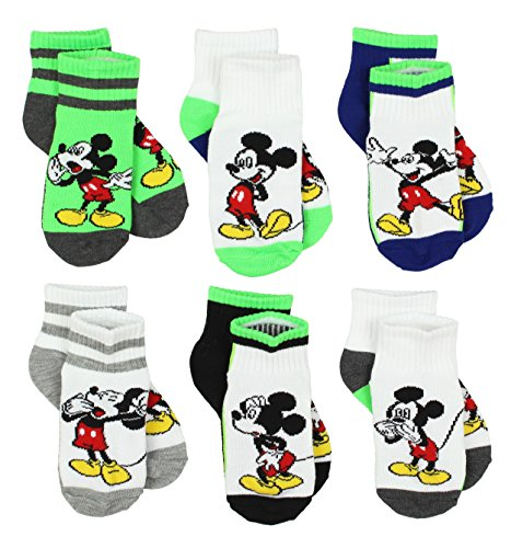 Disney Mickey Mouse Little Boys 6 pack Socks (4-6 Toddler (Shoe: 7-10), Mickey Multi Quarter) from Disney
