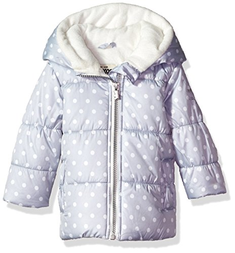 OshKosh B'Gosh Osh Kosh Baby Girls Bow Pocket Heaveyweight Jacket Coat, Silver Dot, 6-9 Months
