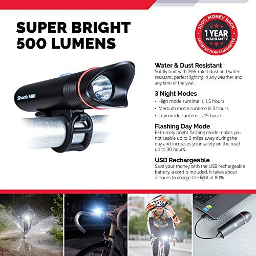 USB Rechargeable Bike Light SUPER-BRIGHT Cycle Torch Shark 500 Rear Front Set