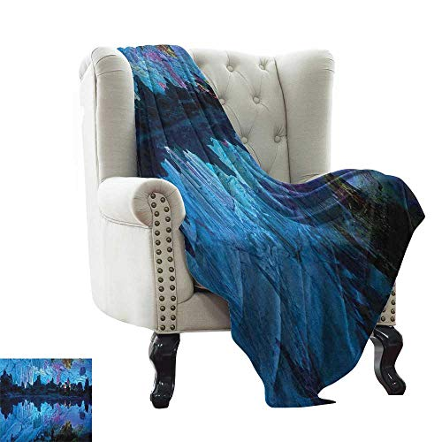 LsWOW Weighted Blanket Adult Natural Cave,Illuminated Reed Flute Cistern with Artifical Crystal Palace Myst Cave Image Print, Blue for Bed & Couch Sofa Easy Care 50