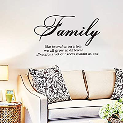 Family Like Branches on a Tree,We All Grow in Different Directions Yet Our Roots Remain as One Wall Decal Sticker Removable Mural PVC Vinyl Stickers Home Decoration Bedroom Decor: Baby