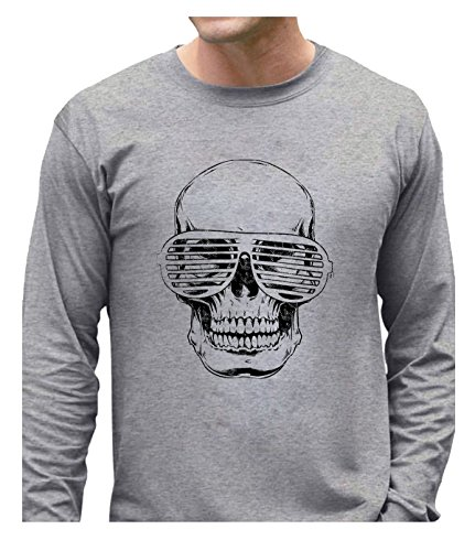Gain Mic (LuopeG Glasses Skull Long Sleeves T-Shirt For Mens XS Gray)