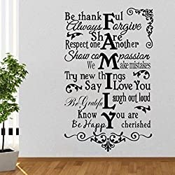 Rabbitsticker Wall Art Decor Decals Removable Mural House Rules -Be Thankful Always Forgive.Romantic Family Quotes Living Room 16x24inches