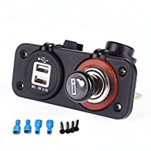 Iztoss 12-24v Dual USB Power Port Charger Cigarette Lighter Plug Socket for Motorcycle car RV boat