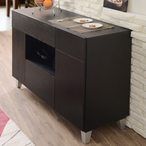 Carrera Contemporary Black Finish Buffet Cabinet Sideboard