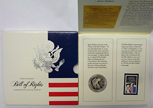 (1993 S Bill of Rights Commemorative Coin & Stamp Set Half Dollar Proof US)