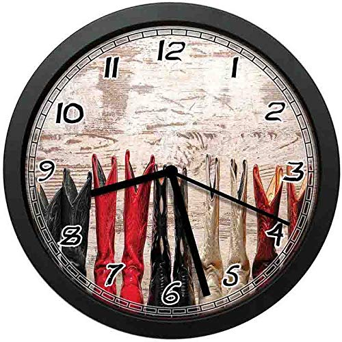- luckboy-zm American Legend Cowgirl Leather Boots Rustic Wild West Theme Folkart Country Theme Wall Clock Nice for Gift or Office Home Unique Decorative Clock Wall Decor 10in with Frame