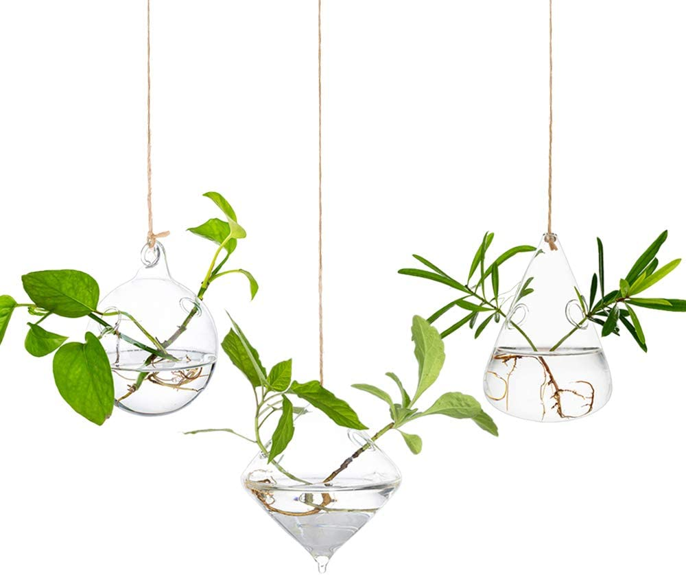 Glass Large Hanging Planters Water Air Plant Succulent Containers Terrarium Kits Candle Holder Indoor Outdoor 2 Holes 3Pcs/Set with Strings Rope for Home Garden, Sphere+Diamond+Water Drops Shape