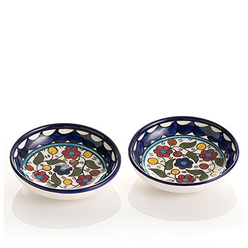 Bowls Set of 2 Bread Dipping Condiment Ceramic Colorful Small Dish Bowl Serving The Crabby Nook