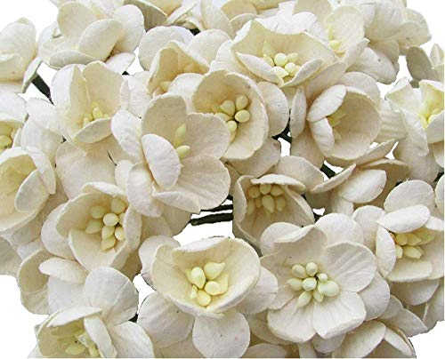 50 Pcs Cherry Blossom Ivory Mulberry Paper Flower 25 mm Scrapbooking Wedding Doll House Supplies Card Project, Products From Thailand.