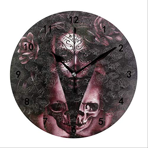 - Miaoquhe Eye of The Devil Wall Clock, 9.5-Inch Silent Battery Operated Round for Office Bedroom Living Room Kitchen Indoor Decorative