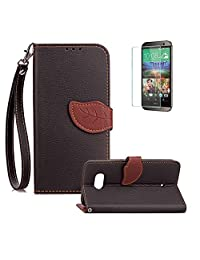 Funyye Creative Leaf Magnetic Closure Flip Case for HTC U11,Premium Stylish Black Strap Wallet Case with Stand Credit Card Holder Slots Case for HTC U11,Slim Fit Shockproof Non Slip Soft Silicone PU Leather Case for HTC U11 + 1 x Free Screen Protector