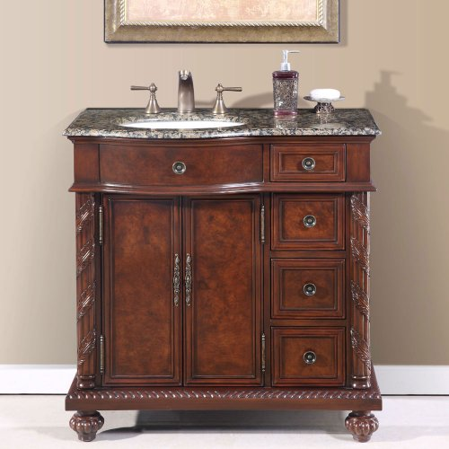 Silkroad Exclusive Baltic Brown Granite Stone Top Single Sink Bathroom Vanity Cabinet, 36