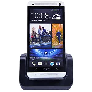 Patuoxun Charger Cradle for HTC One M7 Black - Case Adaptor Fit Phone with or without a Slim Case