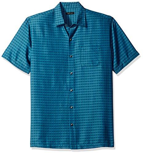 Van Heusen Men's Printed Rayon Short Sleeve Shirt, Yorktown Blue, (Big And Tall Silk Shirts)