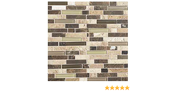 Stone Radiance 12 x 12 Random Mosaic Tile Blend in Caramel Travertine